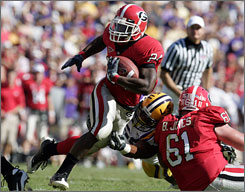 Knowshon Moreno found plenty of running room against the LSU defense as Georgia won a big game in Baton Rouge.