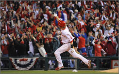 Philadelphia Phillies right fielder Jayson Werth celebrates his two-run home run in the eighth inning of Game 3 of the World Series at Citizens Bank Park in Philadelphia. Werth hit one of his team's four homers as the Phillies routed the Rays 10-2.
