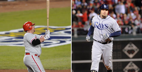 The Phillies' Matt Stairs, left, and the Rays' Eric Hinske are veterans that can provide pop off the bench for their teams.