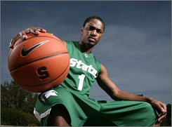 Kalin Lucas takes over at point guard for Michigan State after averaging 10.3 points and 3.8 assists a game during his freshman season last year.