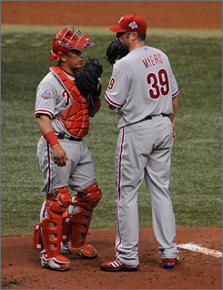 Phillies pitcher Brett Myers, right, talks with catcher Carlos Ruiz during Game 2 of the World Series. Myers was 7-4 with a 3.20 ERA down the stretch as the Phillies won the National League East.