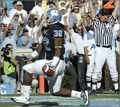 North Carolina's Ryan Houston strolls into the end zone for one of his two touchdowns against Georgia Tech.