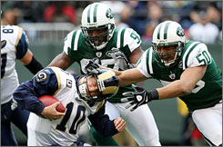 The Jets' 31 sacks rank second in the NFL to the Pittsburgh Steelers' 34.