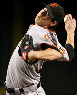In just his second major league season, Giants right-hander Tim Lincecum established himself as one of the game's top pitchers, posting an 18-5 record, 2.62 ERA and leading the majors in strikeouts with 265.