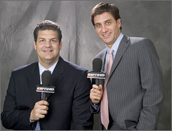 Mike Greenberg, right, will stay at broadcast partner Mike Golic's house to watch the Patriots-Jets showdown. There are, however, conditions that Greenberg must meet.