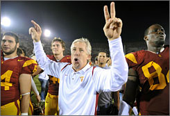 Southern California coach Pete Carroll, celebrating after the Trojans' win over Cal last Saturday, hopes to be doing the same after his team's game at Stanford.