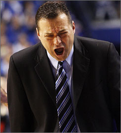 Kentucky coach Billy Gillispie shows his disgust at a call by an official during the Wildcats' shocking 111-103 loss to VMI.