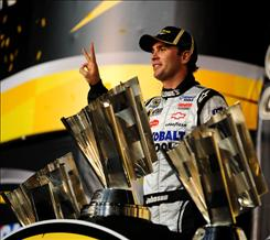 In six seasons, Jimmie Johnson has won more Sprint Cup titles than all but seven men: Richard Petty, Dale Earnhardt, Jeff Gordon, Darrell Waltrip, David Pearson, Lee Petty and Cale Yarborough, the only other driver to win three consecutive championships.