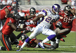 The Minnesota Vikings will need to find help for running back Adrian Peterson if they are to emerge from the three-team tie at 5-5 and win the NFC North.