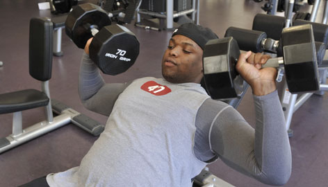 Former UNLV defensive lineman Elton Shackelford, working out at a YMCA in Kennesaw, Ga., says of his university studies diploma: &quot;I think it's a meaningless degree. ... To tell you the truth, I think it's lower than an associate degree.