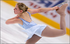 American Rachael Flatt finished third in the ladies' short prgram Friday at the Cup of Russia.