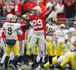Shaun Lane and the rest of the Ohio State Buckeyes had plenty to celebrate after their fifth straight win against Michigan.