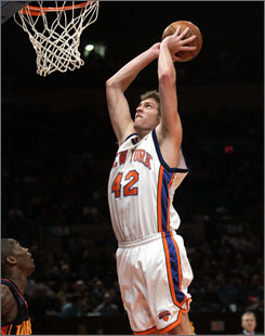Knicks forward David Lee skies for two of his career-high 37 points against the Warriors. Lee also pulled down a career-best 21 rebounds in New York's 138-125 victory.
