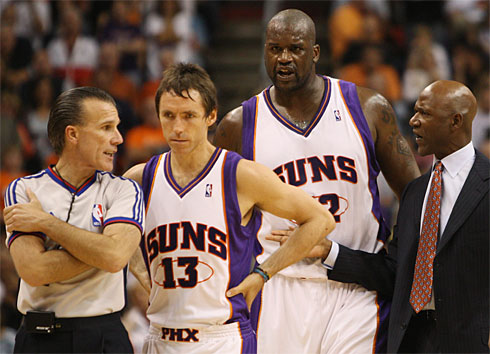 Suns Steve Nash and Shaquille O'Neal and coach Terry Porter