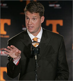 Lane Kiffin takes over as just the third football coach in 32 years at Tennessee.