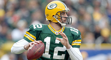 Quarterback Aaron Rodgers wears the famous green and gold and the distinctive helmet of the Green Bay Packers, who, according to Turnkey Sports & Entertainment, have the top local marketing brand among major pro teams.