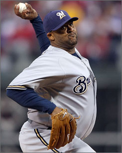 CC Sabathia went 11-2 with a 1.65 ERA in 17 starts last season after being traded from Cleveland to Milwaukee.