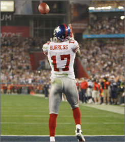 Plaxico Burress caught the game-winning touchdown pass to beat the New England Patriots in last year's Super Bowl.