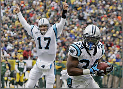 """""""This is not the same team of two years ago, a year ago,"""" DeAngelo Williams, right, says of the 9-3 Panthers. """"We don't give up. We're going to keep fighting."""