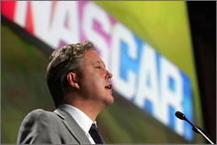 NASCAR Chairman and CEO Brian France speaks during the Champions Week media luncheon.