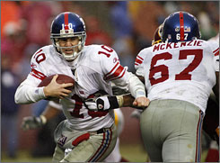 Eli Manning and the Giants, 11-1, are 3-0 thus far this season without top receiver Plaxico Burress, whom they will have to play the rest of the season without after the team suspended him this week.