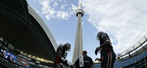 "When the Bills host the Dolphins in Toronto on Sunday, the team from one of the NFL's smallest media markets will be exposed to the fifth-largest metropolis in North America, a city that's just 60 miles away. ""This is as an effort to regionalize the team's fan base,"" NFL spokesman Brian McCarthy says."