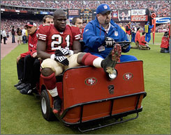 The 49ers lost running back Frank Gore to a leg injury.