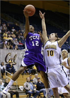 TCU's TK LaFleur goes in for a layup while being guarded by California's Lauren Greif during the first half of their game in Berkeley, Calif. LaFleur had 13 points and six rebounds as TCU shocked No. 3 Cal 82-73.