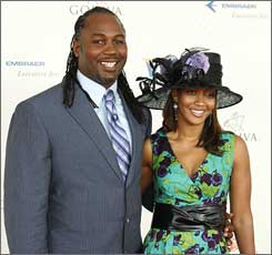 Lennox Lewis and his wife, Violet, arrive for the 134th Kentucky Derby on May 3 at Churchill Downs in Louisville, Ky.
