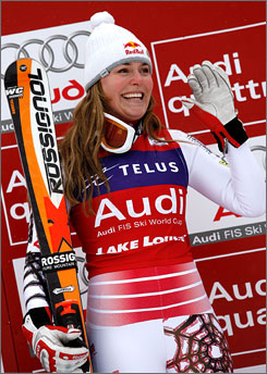 American Lindsey Vonn continued her mastery of the Lake Louise downhill course last week, winning the World Cup event there for the fifth consecutive year.