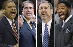 Four NBA coaches have been sent packing this season (from left): the Wizards' Eddie Jordan, the T'wolves' Randy Wittman, the Thunder's P.J. Carlesimo and the Raptors' Sam Mitchell.