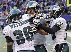 """When 36 has the ball,"" Eagles QB Donovan McNabb says of Brian Westbrook, left, ""you never know what could happen."""