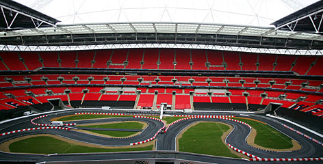 Wembley Stadium goes through final preparations in its conversion to a motor sports venue for the 21st edition of the Race of Champions.