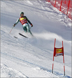 Bode Miller slows down after mistiming a gate during the super giant slalom portion of the super-combined World Cup competition in Val D'Isere, France on Friday.