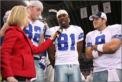 Jason Witten, Terrell Owens and Tony Romo, left to right, were all smiles when they appeared on TV after the Cowboys' Sunday night win against the Giants.