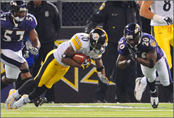 Santonio Holmes' controversial touchdown enabled the Steelers to clinch the AFC North.
