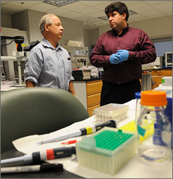 "George Mason professors Lance Liotta, left, and Emanuel ""Chip"" Petricoin created a urine test that detects HGH."