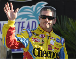Bobby Labonte waves to the fans at the Ford 400 last month in Homestead, Fla. The Sprint Cup veteran is looking for a ride for next year after his release from Petty Enterprises.