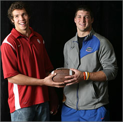 Oklahoma's Sam Bradford beat out Florida's Tim Tebow for the Heisman Trophy. Now he hopes to lead the Sooners past the Gators in the national title game.