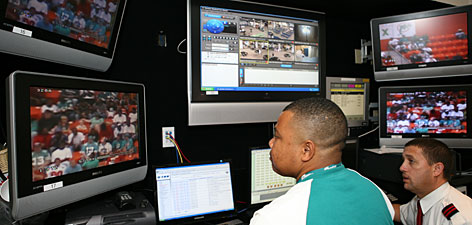 "The security center at Dolphins stadium receives more than 100 messages per game from fans. Officials respond to complaints about bad behavior from there. ""If there's someone around you that's just really ruining your day, now you don't have to sit there in silence,"" says Jeffrey Miller, the NFL's director of strategic security."