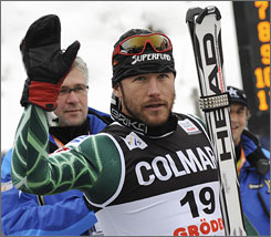 Bode Miller waves after finishing second in the downhill at a World Cup event in Italy on Saturday.