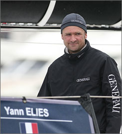 Solo racer Yann Elies, of France, was rescued by an Australian navy ship after breaking his leg during the Vendee round-the-world race.