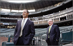 Mariners manager Don Wakamatsu, left, and general manager Jack Zduriencik are in their first years on the job, but both boast a wealth of baseball experience.