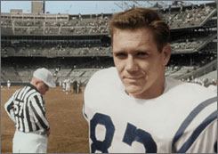 "Raymond Berry during the Baltimore Colts' 1958 NFL championship season, capped by a victory in the ""the greatest game ever played"" 50 years ago."