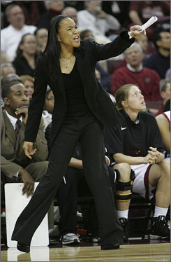 South Carolina women's basketball coach Dawn Staley reacts to her players during the first half of their game against Clemson on Nov. 19, in Columbia, S.C. South Carolina hosts No. 1 Connecticut on Sunday.