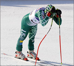 Bode Miller hangs his head after checking his time, which left him just short of a podium finish.