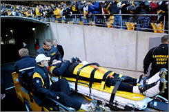 A concussion forced Steelers QB Ben Roethlisberger out of the game on a stretcher Sunday.