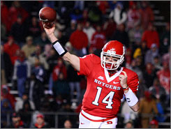 Rutgers quarterback Mike Teel, shown here in a Dec. 4 game against Louisville, has thrown for 1,737 yards and 20 touchdowns since Oct. 25 for the Scarlet Knights, who started the season 1-5.