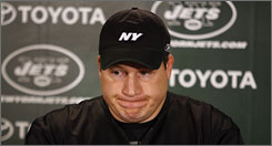 Eric Mangini faces the media in what turned out to be his final press conference as N.Y. Jets coach Sunday.