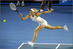 Maria Sharapova, shown here in the 2008 Australian Open finals, hasn't played since the first week of August when she pulled out of a tournament in Montreal. The defending Australian Open champion revealed she had shoulder surgery two months ago.